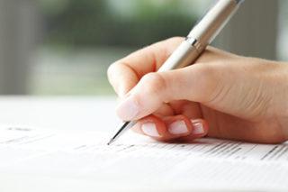unterschreibende Hand