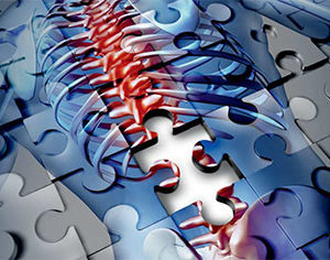 Wirbelsäule in Puzzlesteinen Welt-Rheuma-Tag