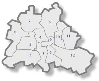 Berlinkarte mit Standorten der Rheuma-Liga
